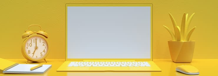 Minimal idea concept, Laptop background on Work desk yellow color and mock-up for your text with notebook, mouse,tree and clock. 3d render.
